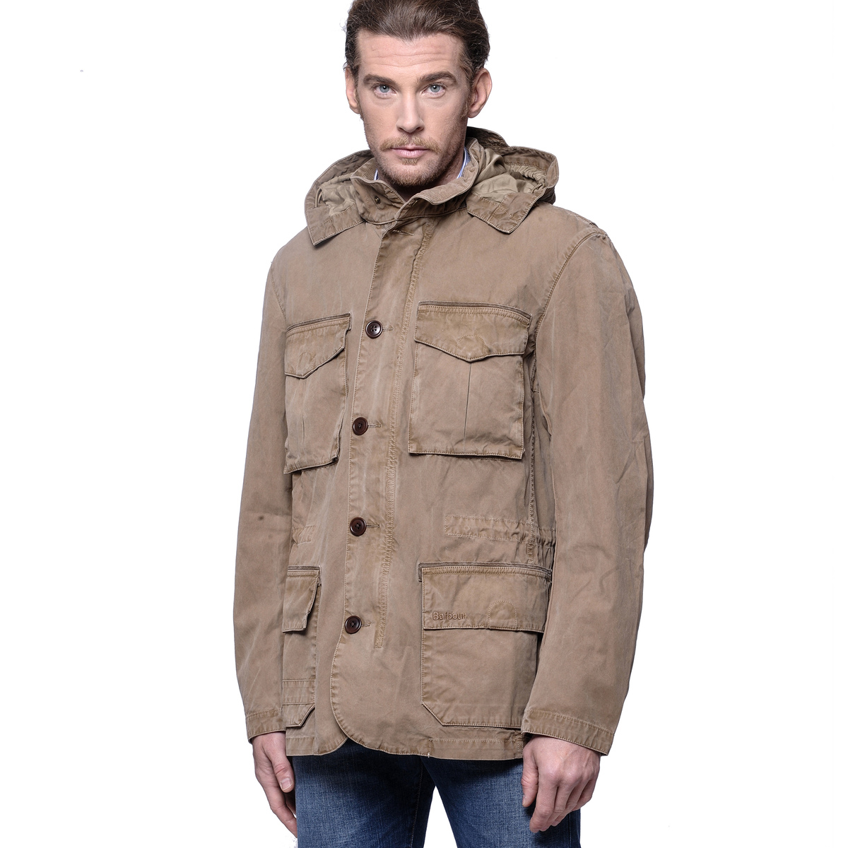 Barbour Giacca Modello Field Jacket In Cotone Stone Solant