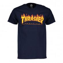 Thrasher 311019 T-shirt Thrasher Magazine Flame Logo Blu Street Style Uomo