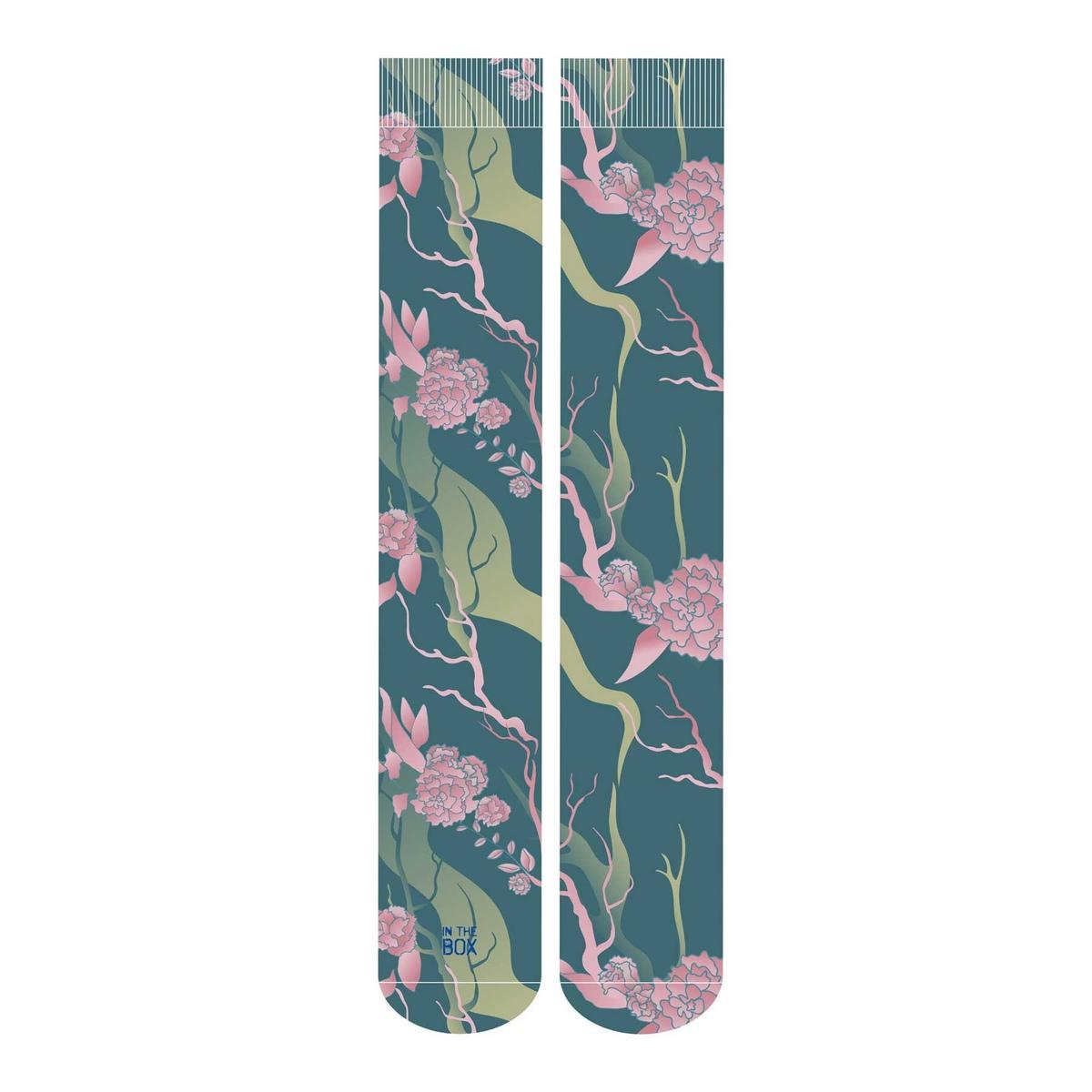 Calza stampa fiori japan poli traspirante