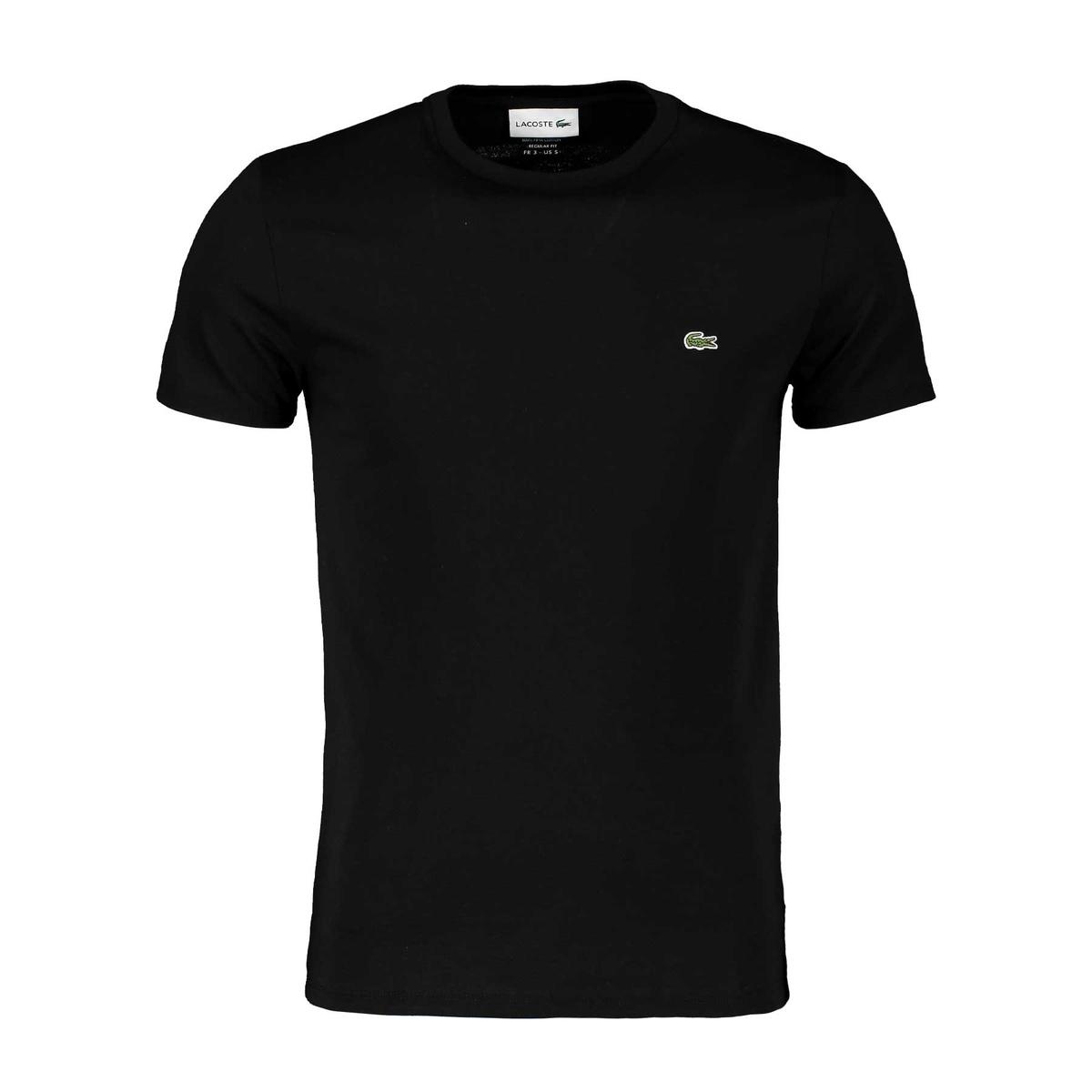 lacoste t-shirt logo in cotone pima nero uomo