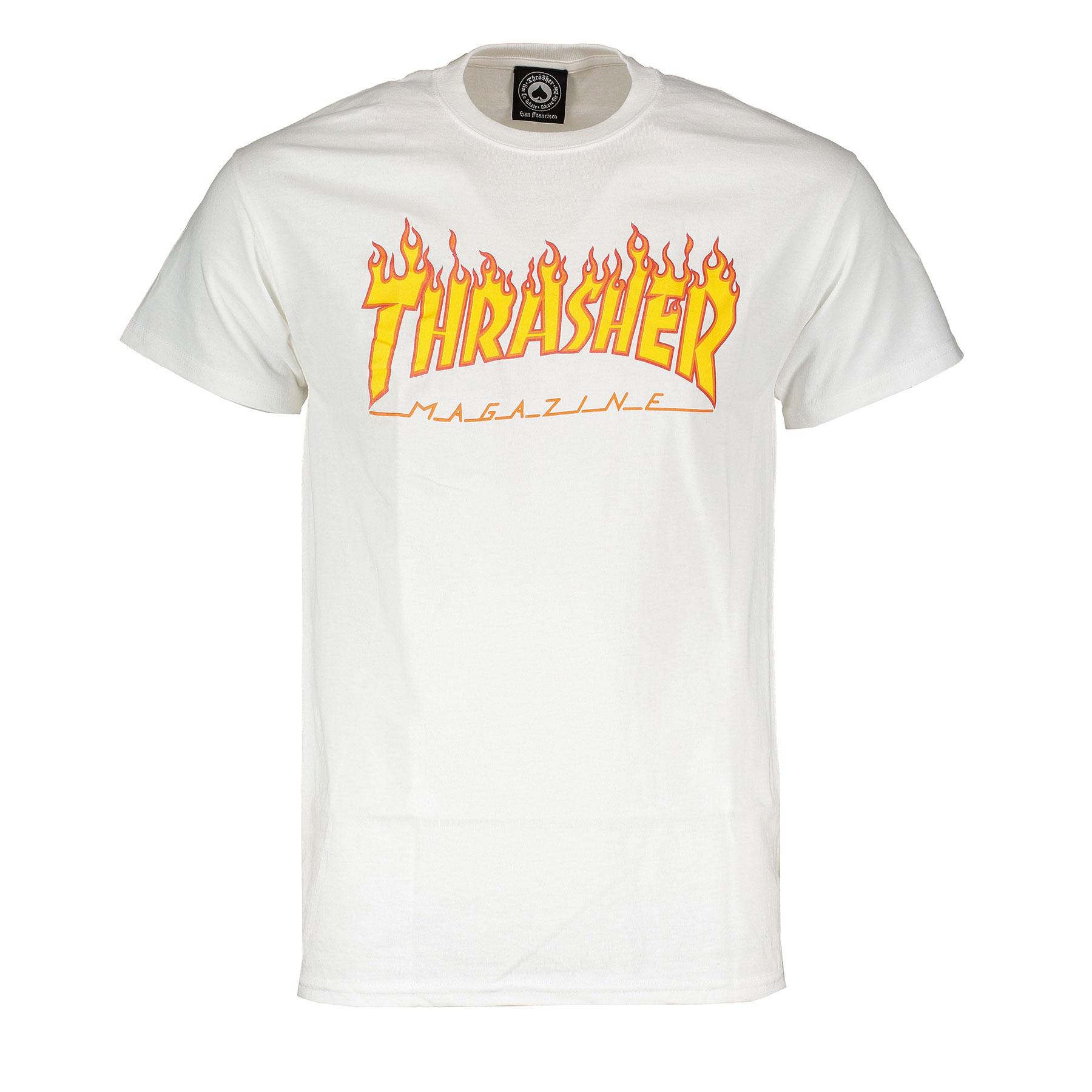 T-shirt Thrasher Magazine Flame logo bianca