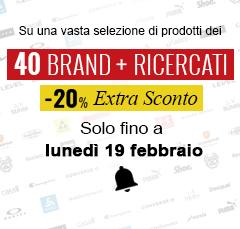 Extra Sconto -20% sui 40 Brand più Ricercati