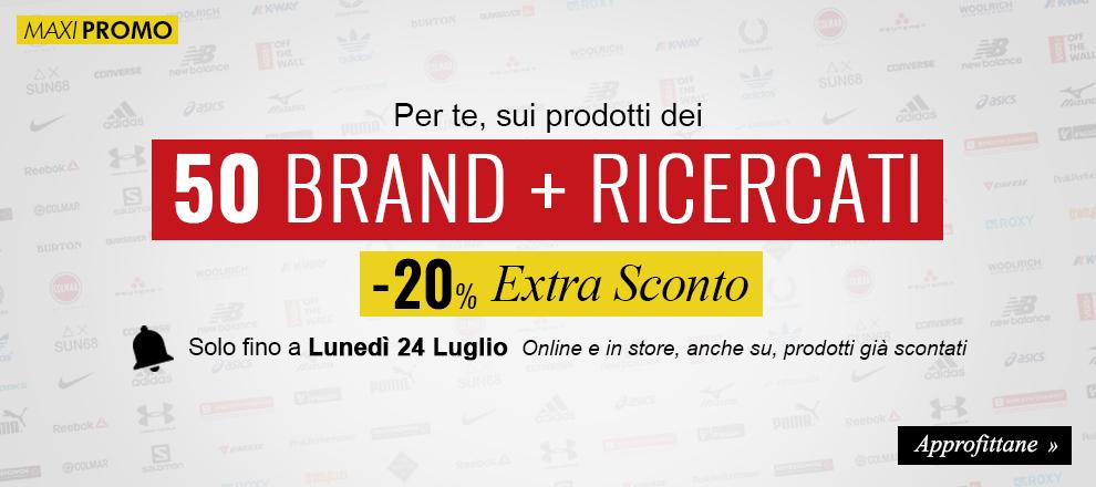 Esclusivo Extra Sconto -20% sui brand più ricercati
