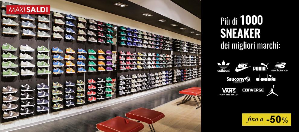Maxi Saldi: Più di 1000 Sneaker dei migliori marchi in Maxi promozione