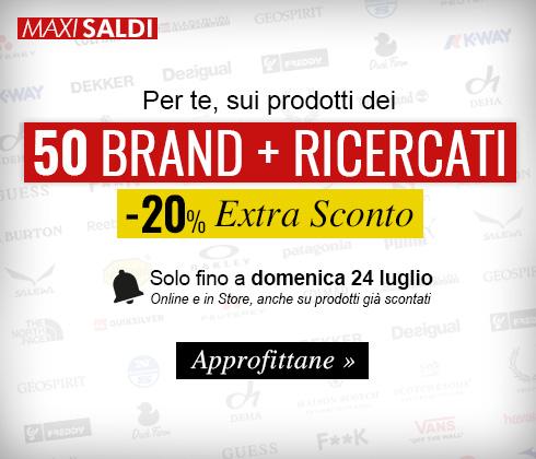 Promozione: i 50 brand più ricercati con un 20% Extra Sconto