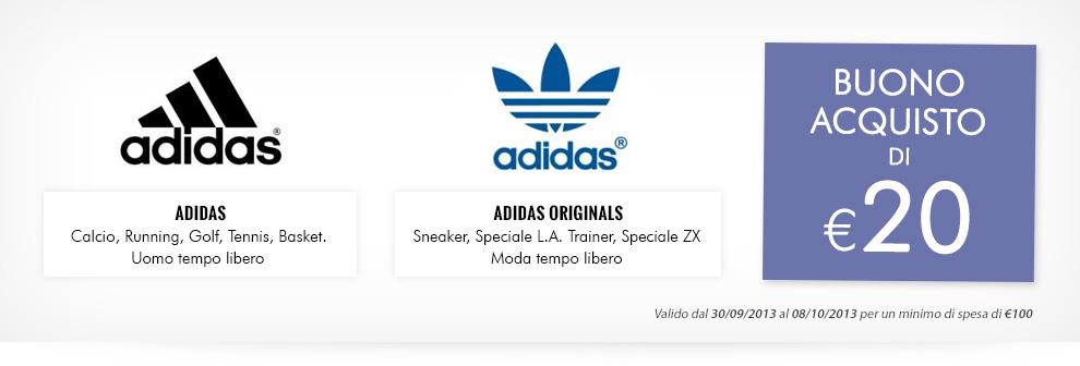 Buono sconto di € 20 sui brand Adidas e Adidas Originals