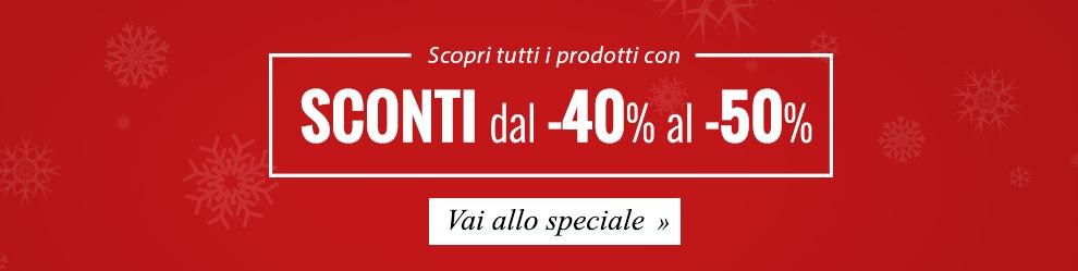 Vai allo speciale e scopri tutti i prodotti con sconti dal -40% al -50%!